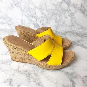 Born Patent Leather & Cork Wedge Sandals